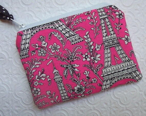 Boutique Hot Pink Eiffel Tower Mini Zippered Pouch-  Buy 3 ship FREE