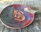 Tea Bag Holder Spoon Rest or Jewelry Holder Om Design Dish in Maroon