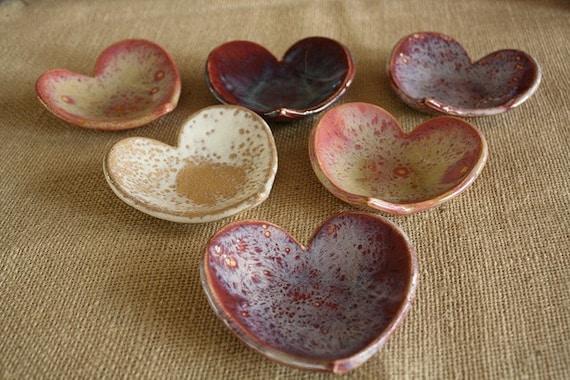 Heart shaped ceramic catch all bowl soap dish or jewelry for Heart shaped jewelry dish