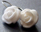 Summertide - Sterling Silver White Jade Carved Rose Earrings