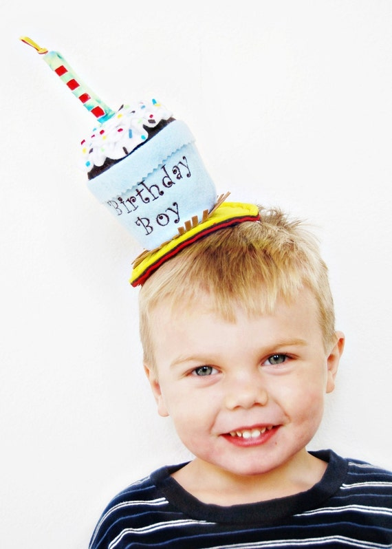 Handmade Birthday Boy Cupcake Hat by Sew Cute Sweets   On Sale Now