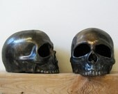 "Memento mori ceramic human skull halloween votive with 3/4"" black candle"