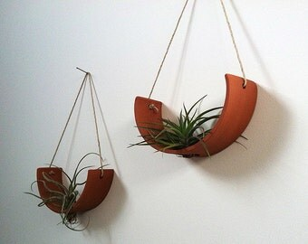 Hanging Air Plant Cradle (tm) - Natural TerraCotta Planter Vase