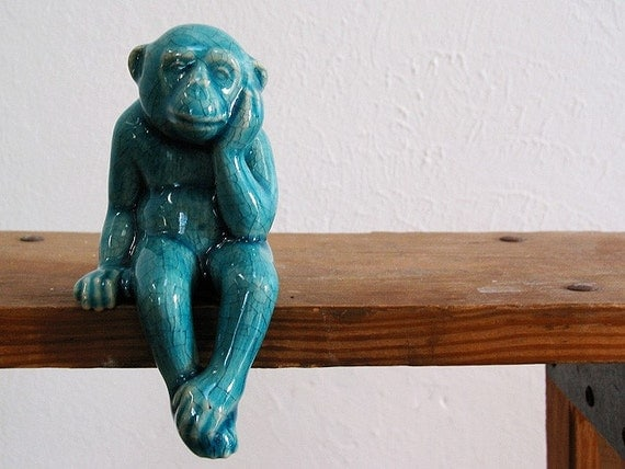 Blue Monkey Ceramic Monkey With Peking Turquoise Blue