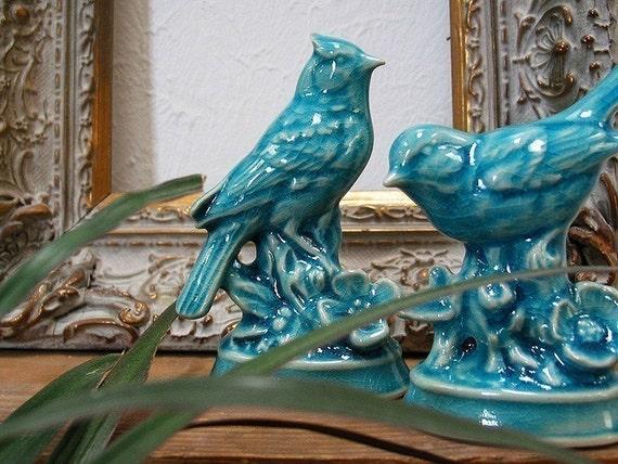 SALE - Arboretum Series - Ceramic Blue Jay with Peking Turquoise Blue crackle glaze