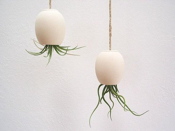 Hanging Air Plant Pod (tm) - natural buff colored stoneware