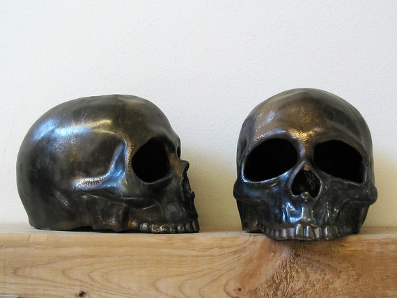"Memento mori ceramic human skull halloween votive with 3/4"" black candle"