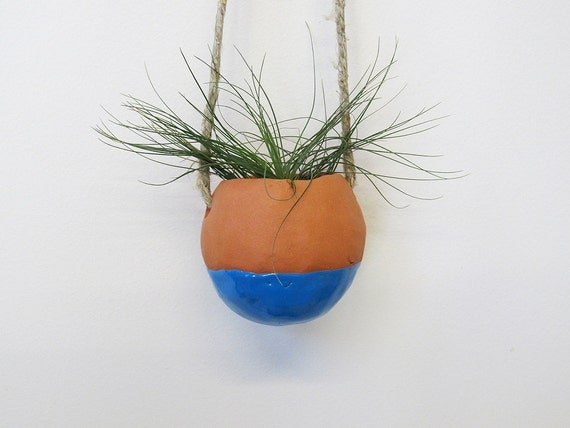 Terracotta hanging planter pot vase with bright blue glaze - perfect for air plant, succulent or cactus