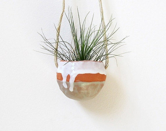 Spring Housewarming Terracotta hanging ceramic pinch pot with green and white glaze - perfect for air plant, succulent or cactus