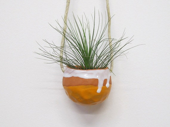 Spring Housewarming Terracotta hanging ceramic pinch pot with orange and white glaze - perfect for air plant, succulent or cactus