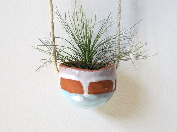 Spring Housewarming Terracotta hanging ceramic pinch pot with light blue and white glaze - perfect for air plant, succulent or cactus