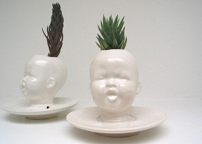 Modern White Baby Head Vase Planter By Mudpuppy Skinny