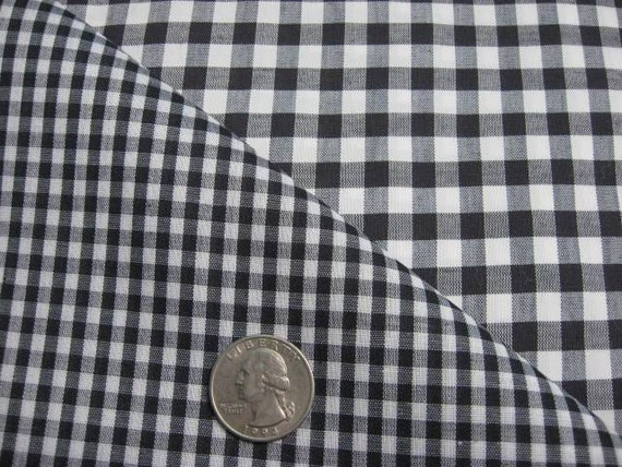 Black and White Gingham Fabric 2 Sizes 5 Yards Total