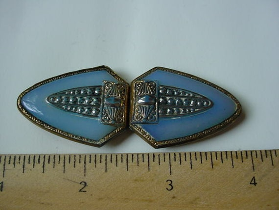 Czechoslovakia vintage scarf clip Blue Beautiful RESERVED FOR penelope gibbs