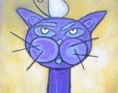 Cat and Mouse, an original acrylic and oil pastel by Amy Haught