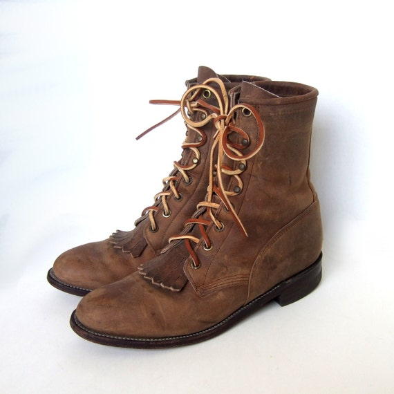 justin romper lace up brown boots womens size 7 5