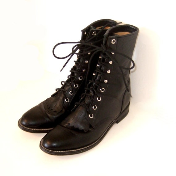 justin roper black lace up boots womens size 7 5