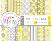 80% off Yellow Gray Digital papers for scrapbooking, invites, cards, photographer backgrounds VERSAILLES download