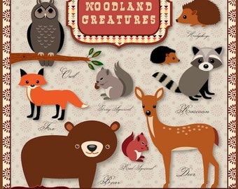 40% off Woodland Creatures clipart for scrapbooking, crafts deer, raccoon, hedgehog, fox Instant Download