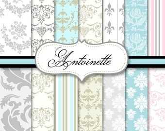 80% off Antoinette, Elegant Damask, Digital Scrapbook Paper,  INSTANT DOWNLOAD, pastel, Lilly Bimble