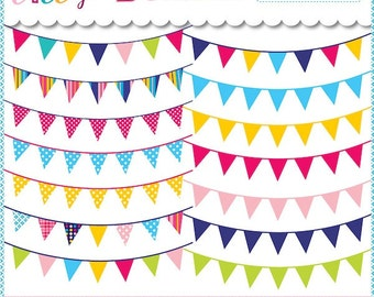 80% off Carnvial Bunting Banners Clipart for cards, design, scrapbooking Commercial Use Included Instant Download