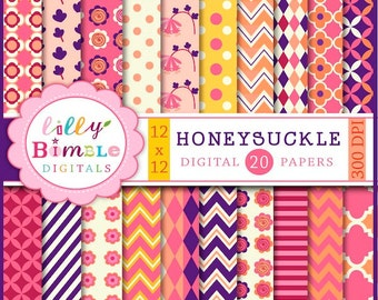 80% off 50 Percent off sale Honeysuckle Digital papers for Summer Scrapbooking, cards, Design Commercial Use Included