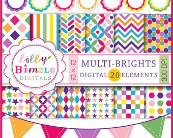 40% off Multi-Brights Digital Papers, Bunting, Frames Multicolor colorblock bright colors scrapbook paper labels download