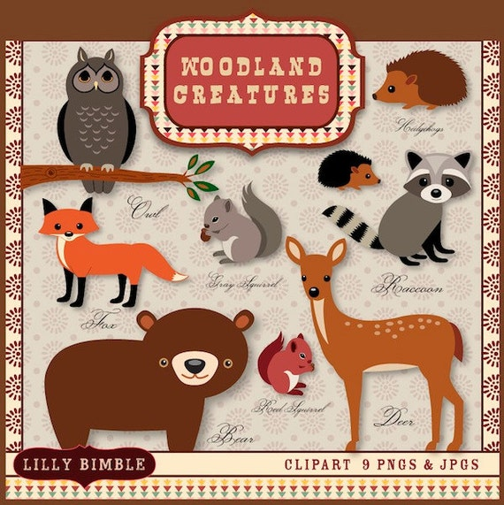 40% off Woodland clipart deer, raccoon, bear clip art, fox, squirrels, hedgehogs INSTANT DOWNLOAD