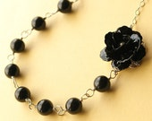 Black Rose and Swarovski Pearl Necklace, Black Pearl Necklace, Bridesmaids Necklace, BELLA NOIR