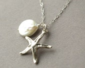 Silver Starfish Necklace, Beach Wedding Necklace, Coin Pearl Necklace, Bridal Jewelry, Sterling Silver Bridesmaids Necklace
