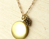 Lovely Lockets, Gold Pinecone Charm Necklace -great gifts