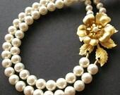 Gold Flower Bridal Necklace, Vintage Wedding Jewelry, Swarovski Pearl Gold Flower Bridal Jewelry, Gold Leaves Wedding Necklace, PENELOPE