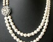 Pearl Bridal Necklace, Wedding Jewelry, Vintage Wedding Necklace, Statement Pearl Bridal Jewelry, Art Deco Wedding Necklace, CELINE