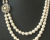 Pearl Bridal Necklace, Vintage Wedding Jewelry, Art Deco Wedding Necklace, Pearl Necklace, Statement Bridal Jewelry, CHARLOTTE