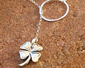 Clover Necklace, Shamrock Lariat Necklace, Sterling Silver Clover Charm, Lucky Charm Necklace, Bridal Jewelry