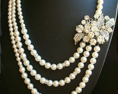 Statement Pearl Bridal Necklace, Art Deco Style Rhinestone Bridal Wedding Necklace, Ivory White Pearl Multi Strand Necklace, LAUREL