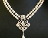 Vintage Wedding Necklace, Art Deco Bridal Necklace, Pearl Wedding Necklace, Vintage Bridal Jewelry, Great Gatsby Wedding, ALESSANDRA