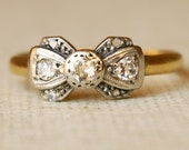 1920's Platinum, Diamond & 18k Gold Ribbon Bow Ring Size US 6
