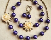 Purple Pearl and Vanilla Rose NECKLACE EARRINGS & BRACELET Set,  Bridesmaids Necklace, Bridal Jewelry, Paloma
