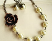 Vintage Brown Rose and Cream Pearl Necklace and Earrings SET, Bridesmaids Jewelry, Bridal Party Gifts, Cream Pearl Necklace and Earrings Set