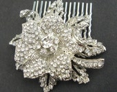 Vintage Style Wedding Bridal Hair Accessories, Crystal Flower Bridal Hair Comb, Rhinestone Bridal Hairpiece, Wedding Hair, MIRANDA