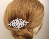 Bridal Hair Comb, Vintage Style Wedding Hair Piece, Bridal Hair Accessories, Pearl Hair Comb, Crystal Wedding Headpiece, ROWENA