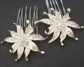 Vintage Style Rhinestone Flower Bridal Hair Combs, Silver Crystal Flower Combs, Set of Two, LILIANA