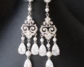 Chandelier Bridal Earrings, Vintage Wedding Earrings, Statement Chandelier Earrings, Great Gatsby Wedding Jewelry, CZ Bridal Jewelry, HELENA