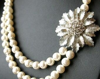 Retro Pearl Bridal Necklace, Crystal Flower Wedding Necklace, Vintage Wedding Jewelry, Art Deco Bridal Jewelry, MARILYN
