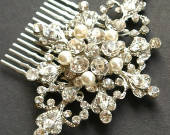 Wedding Hair Comb, Vintage Style Rhinestone & Pearl Bridal Hair Comb, Wedding Bridal Hair Accessories, Victorian Style, MARIANNE