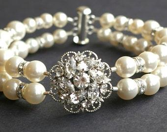 Vintage Style Wedding Bridal Bracelet, Rhinestone Bridal Bracelet Cuff, Pearl Wedding Cuff Bracelet, Art Deco Bridal Jewelry, Celine