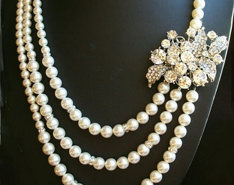 Statement Pearl Bridal Necklace, Art Deco Style Rhinestone Bridal Wedding Necklace, Ivory White Pearl Multi Strand Necklace, LAUREL