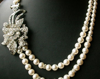 Bridal Jewelry, Crystal Bridal Necklace, Pearl Wedding Jewelry, Vintage Bridal Necklace, Art Deco Necklace, Ivory Pearl Necklace, LINDSEY