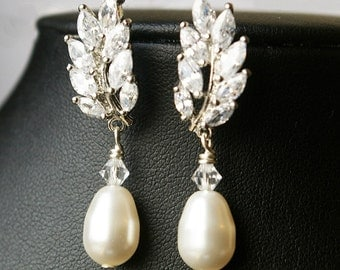 Wedding Bridal Earrings, Swarovski Pearl Bridal Drop Earrings, Rhinestone Leaves Wedding Earring, Vintage Inspired Bridal Jewelry, Blake
